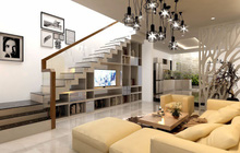 Mẫu phòng khách đẹp 'chất đến phát ngất' có cầu thang ấn tượng
