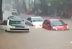 Mưa lớn đầu mùa, ô tô bơi như thuyền trên phố ở Gia Lai