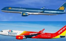 Cổ phiếu của Vietjet Air giảm 1,8% trong khi Vietnam Airlines tăng 3,9% sau đề xuất áp giá sàn vé máy bay