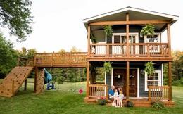 Ngôi nhà mà ông bố tự tay hoàn thành cho 2 cô con gái và câu chuyện khiến ai cũng cảm động