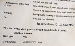 Booking.com thừa nhận chuyển toàn bộ thông tin thẻ tín dụng cho khách sạn