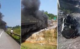 Xe bồn chở dầu bốc cháy dữ dội ở cao tốc Nội Bài - Lào Cai