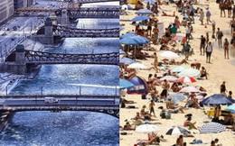 Câu chuyện 2 bán cầu: sông Chicago, Mỹ đóng băng dưới cái lạnh -50 độ C, Sydney nắng nóng kỷ lục 47 độ C, cao nhất 79 năm qua