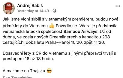 Thủ tướng Séc ủng hộ đường bay Hà Nội - Praha của Bamboo Airways trên Facebook cá nhân