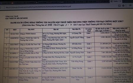 TP HCM bêu tên 209 doanh nghiệp nợ thuế, bất động sản dẫn đầu