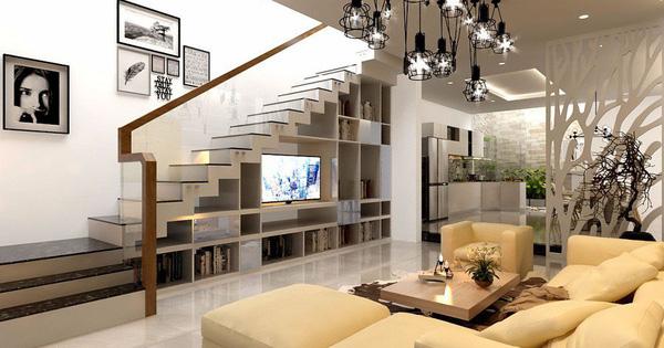 Mẫu phòng khách đẹp ''chất đến phát ngất'' có cầu thang ấn tượng