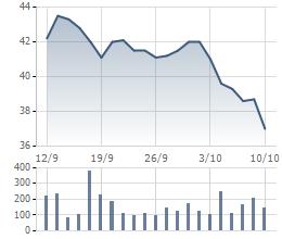 Cũng như HPG, cổ phiếu HSG đã có giai đoạn điều chỉnh khá sâu