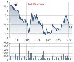 Cổ phiếu HNG đang dần hồi phục trong thời gian gần đây