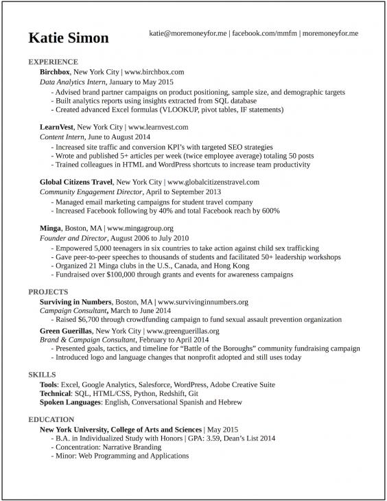 Bản CV mà Katie Simon tự tin trước mọi nhà tuyển dụng