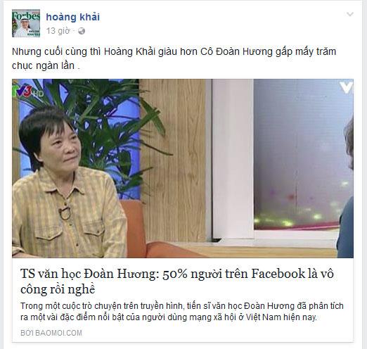 Đại gia Hoàng Khải mỉa mai phát ngôn của Tiến sĩ Văn học Đoàn Hương.