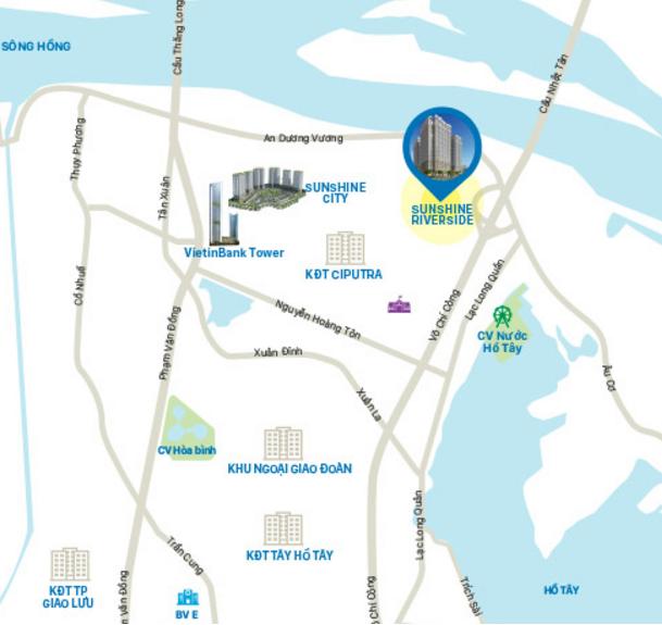 Sunshine Riverside nằm kiêu hãnh trong khu đô thị Ciputra - một trong những khu đô thị đẳng cấp nhất Hà Nội hiện nay.