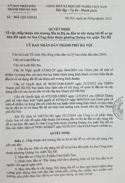UBND TP Hà Nội ra Quyết định phê duyệt dự án trước khi có Nghị quyết HĐND TP (!?)