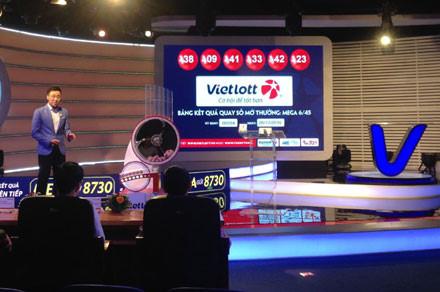 Một phiên quay số mở thưởng xổ số Vietlott.