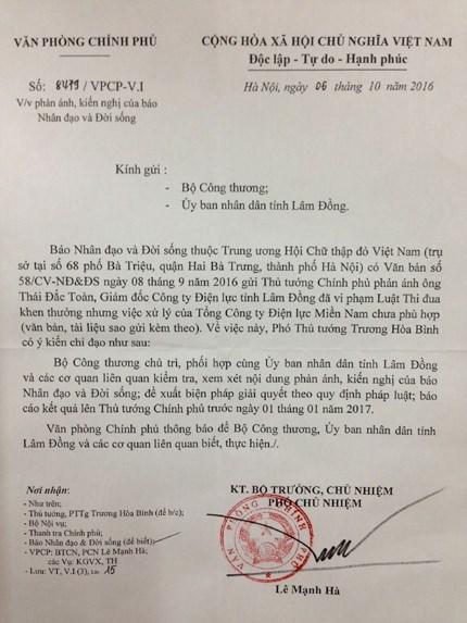 Phó Thủ tướng Chính phủ Trương Hòa Bình đã chỉ đạo Bộ Công Thương, Tập đoàn Điện lực Việt Nam kiểm tra vụ lùm xùm về ông Thái Đắc Toàn.