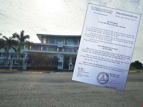 Trụ sở Ban Chỉ đạo Tây Nam Bộ và quyết định bổ nhiệm ông Nguyễn Tiến Khoa là vụ phó. Ảnh: GIA TUỆ