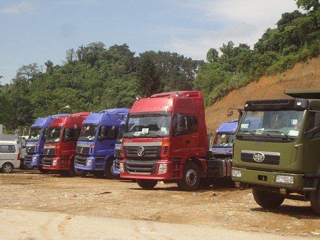 Ô tô tải nhập khẩu qua cửa khẩu quốc tế Hữu Nghị - Lạng Sơn. Ảnh: L.Bằng