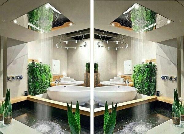 Hồ nước và cây xanh nơi phòng tắm sẽ mang đến cho con người cảm giác vô cùng mát mẻ và gần gũi với thiên nhiên.