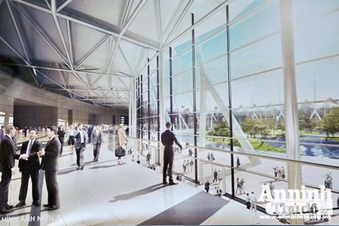 Trung tâm hội nghị và 8 khu triển lãm sẽ được xây dựng theo dạng hình tròn, tạo ra một không gian mở . 2 khu triển lãm rộng 10.000 mét vuông sẽ được nối với nhau bằng một tòa nhà hình vòng có tên gọi là Concourse.