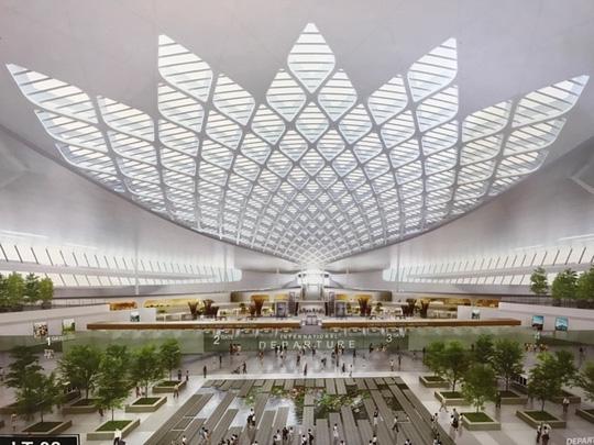 Phương án kiến trúc bên trong nhà ga sân bay quốc tế Long Thành được trưng bày tại triển lãm - Ảnh: T.Bình