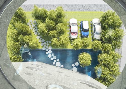 Khu vực trước nhà xanh mướt với vườn cây và hồ nước. Lối dẫn vào nhà được lát những phiến đá hình tròn với kích thước to nhỏ khác nhau.