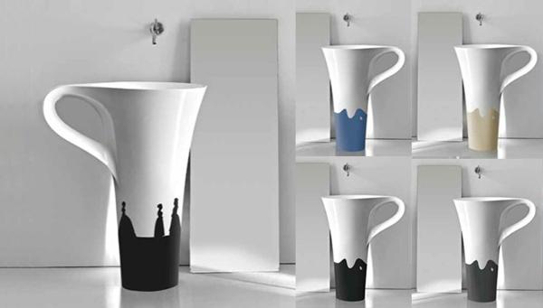 Với thiết kế giống hệt một chiếc cốc nhiều màu sắc, phòng tắm nhà bạn sẽ trở nên vô cùng độc đáo với bồn rửa thú vị này.