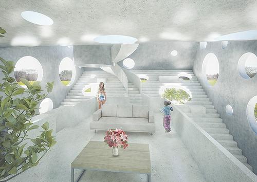 Những ô cửa sổ hình tròn với nhiều kích thước lớn nhỏ được bố trí khắp nơi khiến không gian bên trong ngôi nhà luôn tràn ngập ánh sáng.