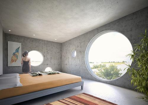 Phòng ngủ rộng thoáng với view nhìn ra bên ngoài vô cùng đẹp mắt.