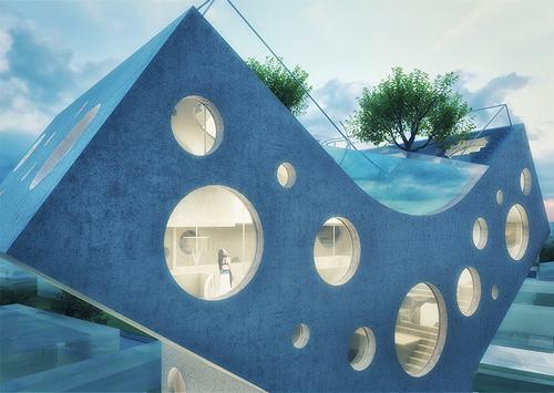 Mái nhà vòm cung chữ Y còn được bố trí một hồ bơi ngoài trời độc đáo.