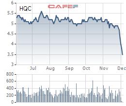 Diến biến giá cổ phiếu HQC trong 6 tháng gần đây.
