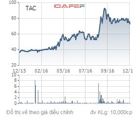 Biến động giá cổ phiếu TAC trong 1 năm qua.