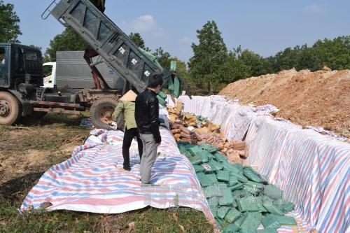 Tổ chức tiêu hủy số hàng hải sản không đảm bảo an toàn tại khu vực tiêu hủy theo đúng quy trình kỹ thuật và bảo vệ môi trường. Ảnh: Võ Dung/TTXVN