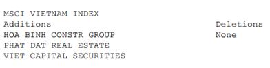 3 cổ phiếu Việt Nam được thêm vào danh mục