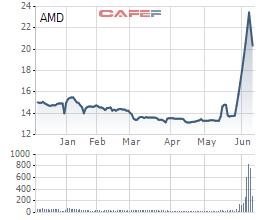 Biến động giá cổ phiếu AMD 6 tháng qua