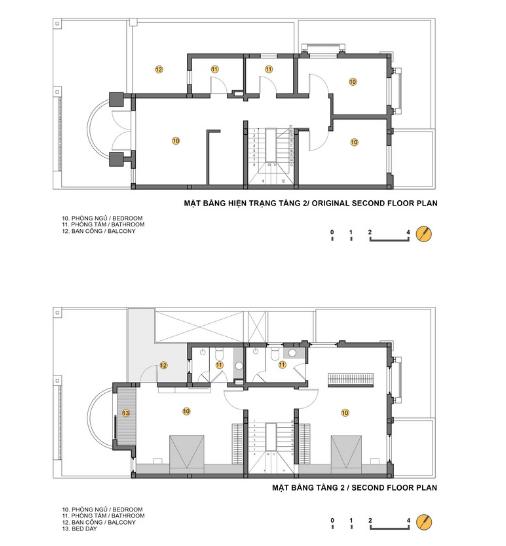 Sơ đồ bố trí không gian trước và sau cải tạo tầng 2.