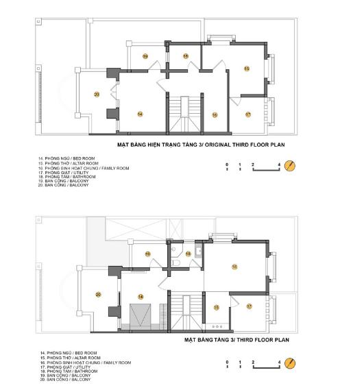 Sơ đồ bố trí không gian trước và sau cải tạo tầng 3.