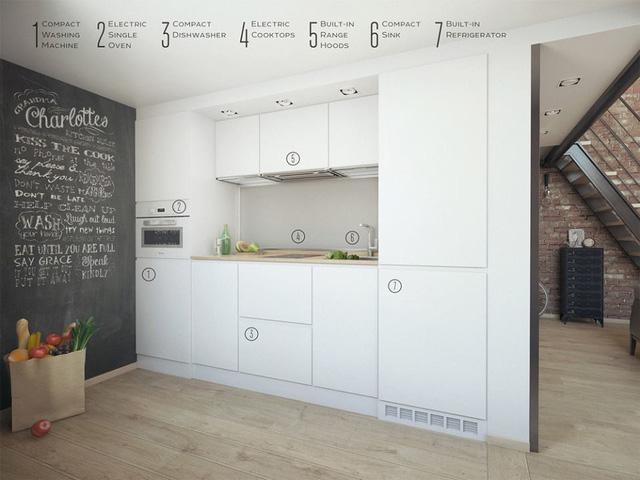Mọi thứ nội thất trong nhà đều được cô gái trẻ lựa chọn đơn giản, gọn nhẹ giúp căn phòng càng thêm rộng thoáng. Toàn bộ hệ thống tủ kệ bếp được thiết kế với tông màu trắng tinh khiết.