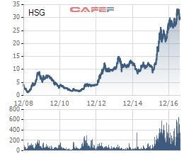 Biến động giá cổ phiếu HSG 3 năm qua (đồ thị được vẽ theo giá đã điều chỉnh kỹ thuật)