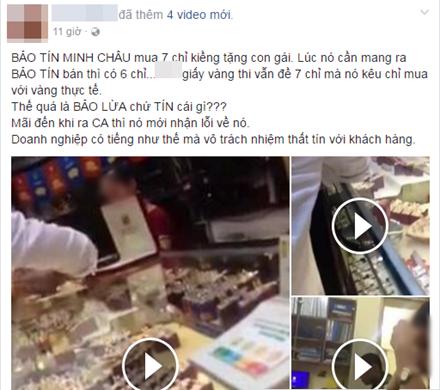 Quá bức xúc, khách hàng đã đăng tải thông tin lên Facebook cá nhân cùng toàn bộ clip trao đổi của nhân viên Bảo Tín Minh Châu với gia đình.