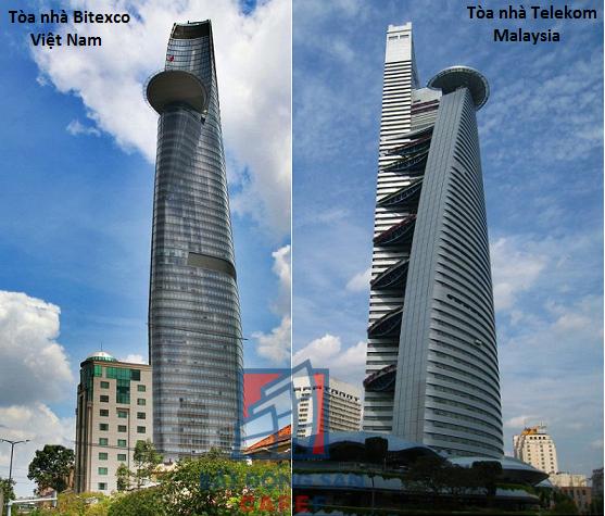 Trong khi tòa tháp Bitexco liền một khối hình trụ thì Telekom lại có kiến trúc phức tạp hơn với các thanh nối song song.