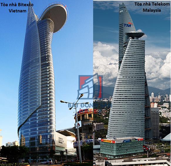 So về kiến trúc, hai tòa tháp Bitexco và Telekom có nhiều sự khác biệt.