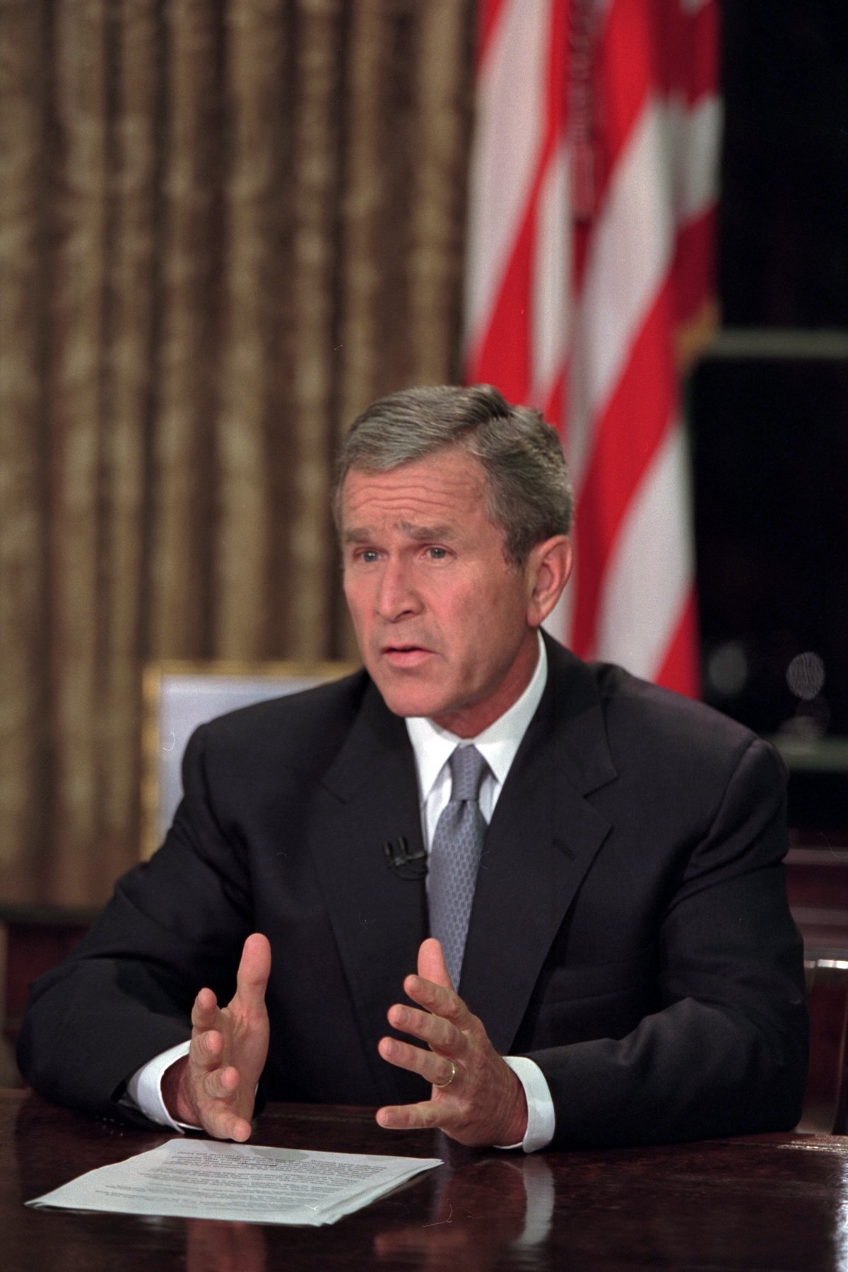 Sau hàng loạt cuộc họp, Tổng thống Bush tiếp tục xuất hiện trên truyền hình nhằm trấn an người dân Mỹ và thể hiện quyết tâm chống khủng bố.