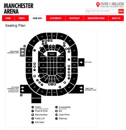 Ảnh này thể hiện các vị trí bên trong Đấu trường Manchester. Nơi nổ bom là sảnh vào của khu vực hòa nhạc. Ảnh: Daily Mail.