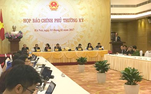 Toàn cảnh buổi họp báo Chính phủ thường kì tháng 1/2017.