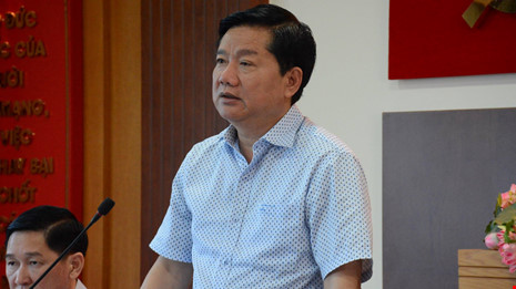 Bí thư Đinh La Thăng đang phát biểu tại buổi làm việc. Ảnh: Tá Lâm