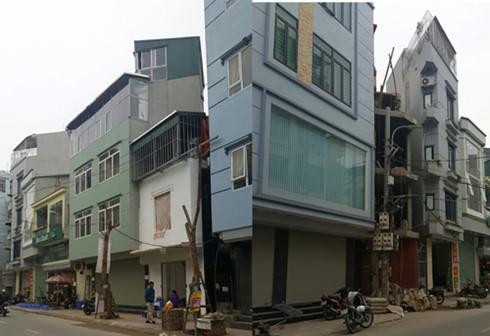 Những ngôi nhà móp méo tại phố Tôn Thất Tùng, Hà Nội.