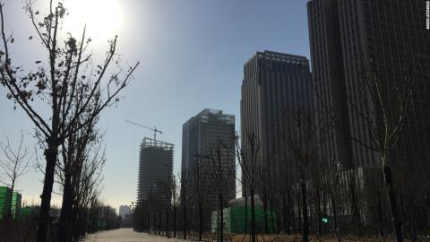 Yuiapu, 1 quận tài chính ở đô thị Thiên Tân, Trung Quốc trở thành đô thị ma không 1 bóng người. Ảnh: CNN
