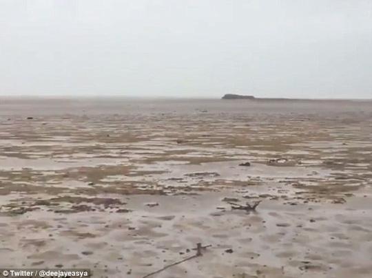 Bão Irma thay đổi tạm thời hình dạng của đại dương sau khi tấn công Bahamas hôm 8-9. Ảnh: Twitter