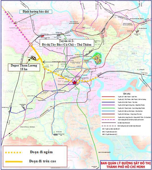 Lộ trình tuyến metro số 2. Ảnh: Ban quản lý đường sắt đô thị TP HCM.