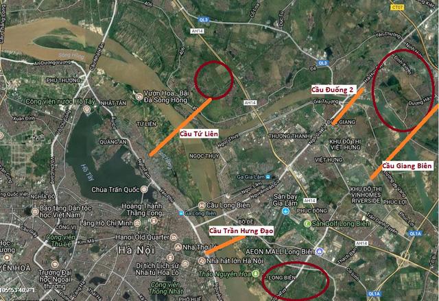 Quỹ đất chuẩn bị phát triển thành phố đối ứng xây dựng cầu mới (khu vực khoanh đỏ).