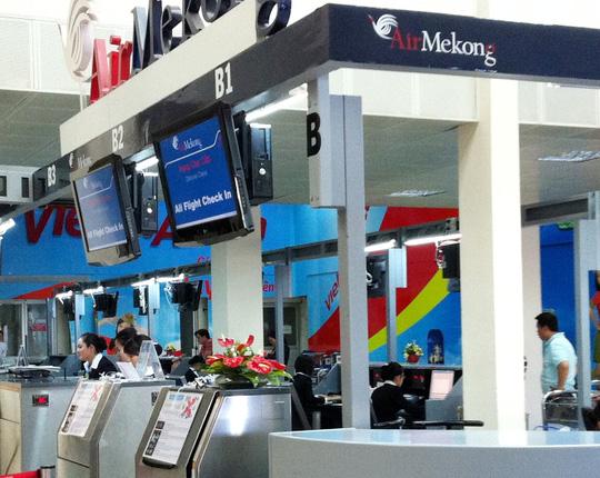 Quầy làm thủ tục của Air Mekong tại sân bay Tân Sơn Nhất khi hãng còn hoạt động - Ảnh: Tô Hà